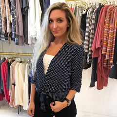 Office Party Polka Dot Blouse from Reset by Jane at Charm Boutique in Gulf Shores