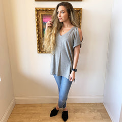 Heather Cold Shoulder Tee from Wishlist at Charm Boutique in Gulf Shores