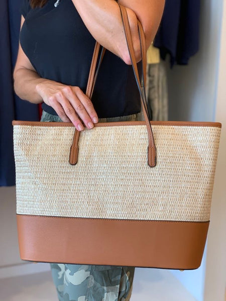 Leather & Straw Tote Bag