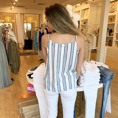 Napa Stripe Button Down Tank from Staccato at Charm Boutique in Gulf Shores
