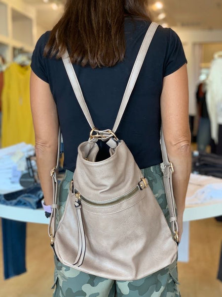 Taupe Convertible Hobo/Back Pack Bag
