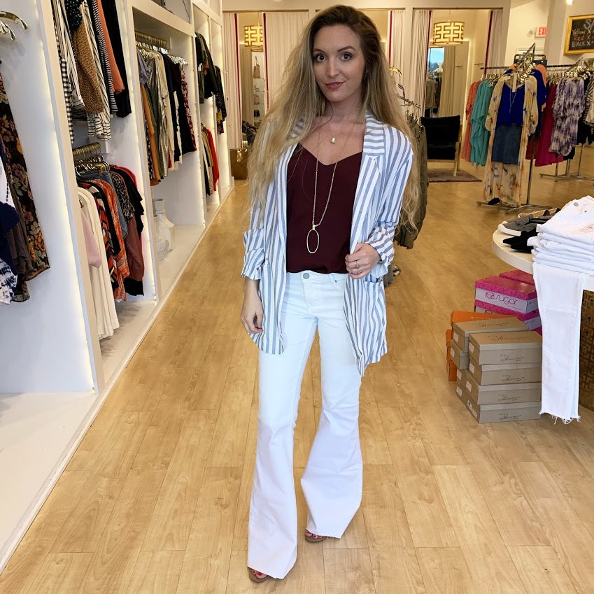 On the Line Stripe Blazer from Lunik at Charm Boutique in Gulf Shores, Alabama