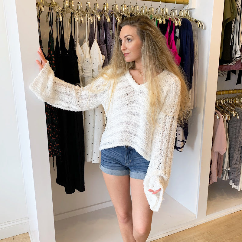 Cool Summer Nights White Sweater from Sadie & Sage at Charm Boutique in Gulf Shores