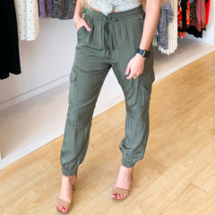 Olive Silk Jogger Pant from Mustard Seed at Charm Boutique in Gulf Shores, AL