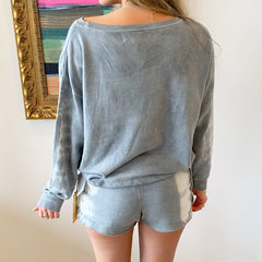 Blue Slate Tie Dye Sweatshirt from Vintage Havana at Charm Boutique in Gulf Shores, Alabama