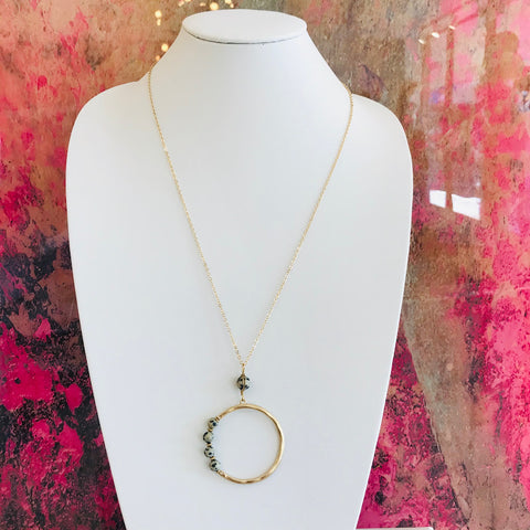 Side Stone Hoop Necklace