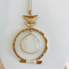 Overlap Circle w/ Stone Necklace