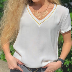 Gold Trim V-Neck Top