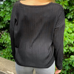 Lottie Ribbed Black Sweater