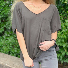 Charcoal V-neck Pocket Tee