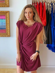 Wine Knot Front Dress