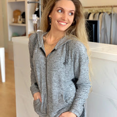 Gray & Black Color Block Hoodie