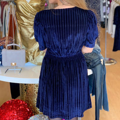 Kari Dress in Navy Velvet