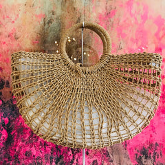 Ring Handle Woven Beach Bag