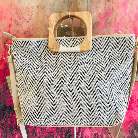 Chevron Straw Tote Bag