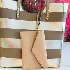 Gold Nautical Stripe Tote Bag
