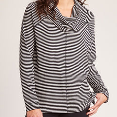 Stripe A Cowl Neck Sweater