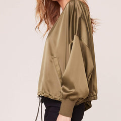 On Duty Satin Bomber Jacket from BB Dakota at Charm Boutique in Gulf Shores