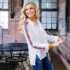 Varsity Stripe Blouse from Karlie at Charm Boutique in Gulf Shores, Alabama