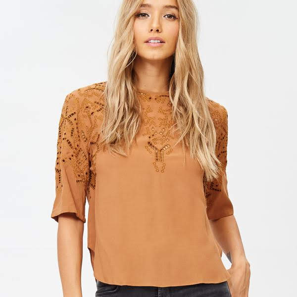 Give Thanks Embroidered Blouse from Reset by Jane at Charm Boutique