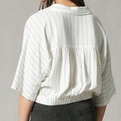 Linen Stripe Crop