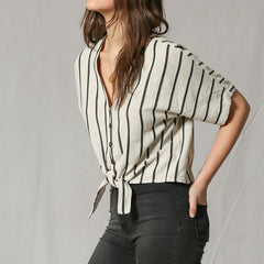 Canvas Stripe Blouse from By Together at Charm Boutique in Gulf Shores, Alabama