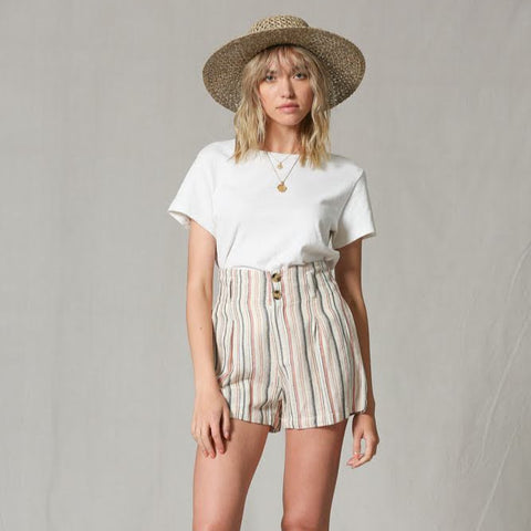 Linen Peach Stripe Short