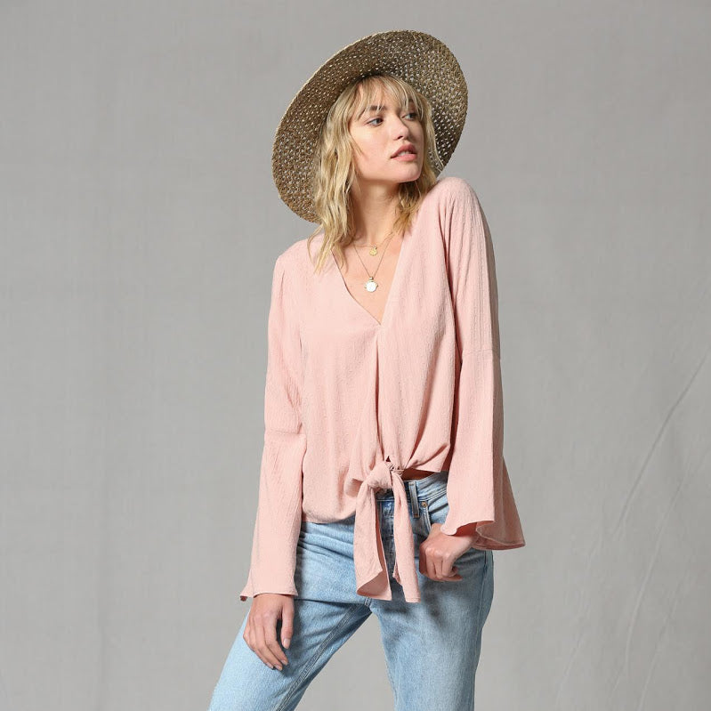Blushing Bell Sleeve Blouse