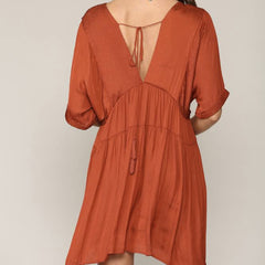 Sonia Satin Rust Dress