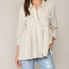 Canvas Babydoll Button Down