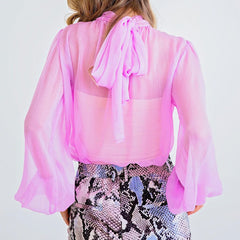 Tied With Love Lavender Blouse from Karlie at Charm Boutique