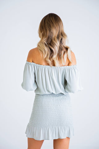 Off Shoulder Button Down Smock Dress