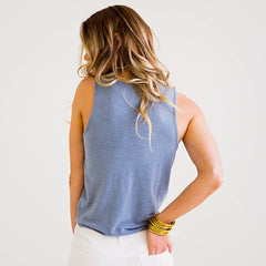 Sky Blue Knot Tank from Karlie at Charm Boutique in Gulf Shores, AL