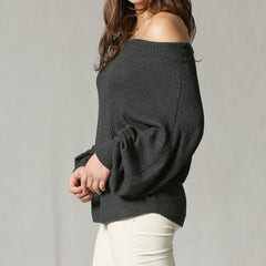 Off the Shoulder Waffle Knit