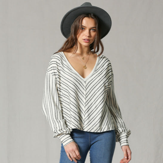 Stripe V-Neck Pullover Blouse from By Together at Charm Boutique in Gulf Shores, AL
