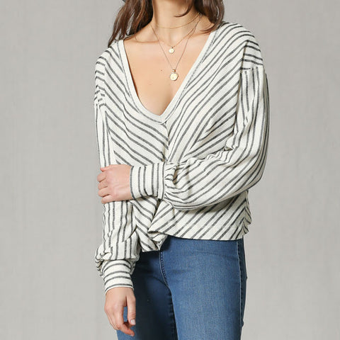 Stripe V-Neck Pullover Blouse