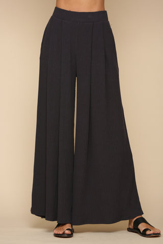 Charcoal Ribbed Wide Leg Pant