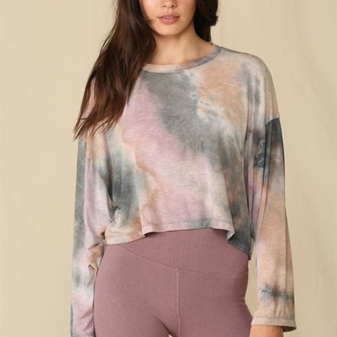 Tie Dye Crop French terry Top
