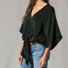 Black Satin Party Blouse from By Together at Charm Boutique in Gulf Shores