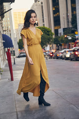Hazel Mustard Wrap Dress from Sage the Label at Charm Boutique in Gulf Shores