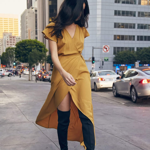Hazel Mustard Wrap Dress