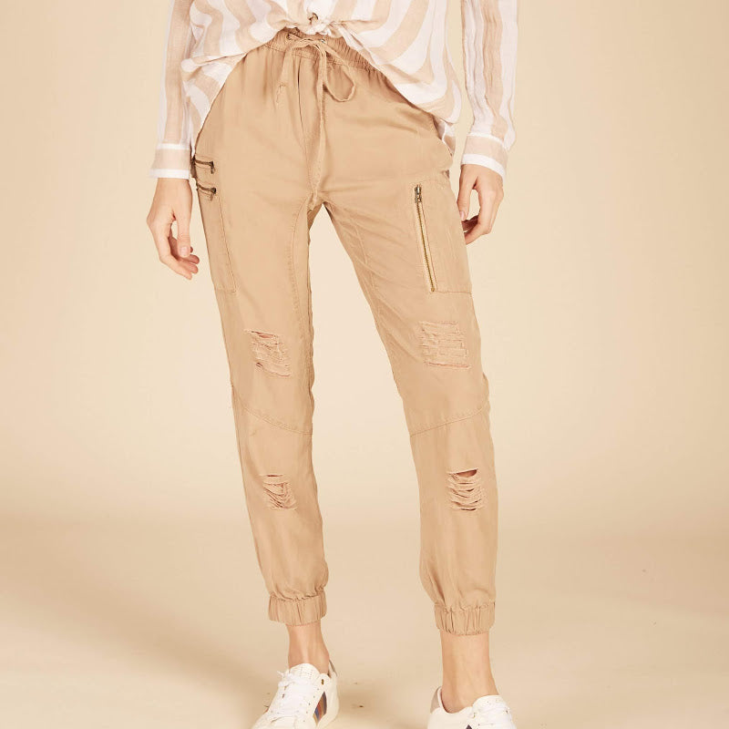 Nude Tencel Cargo Joggers from Vintage Havana at Charm Boutique