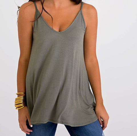 Double V-Neck Cami Tank
