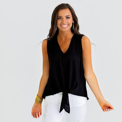 Black V-Neck Tie Tank from Karlie at Charm Boutique in Gulf Shores, Alabama