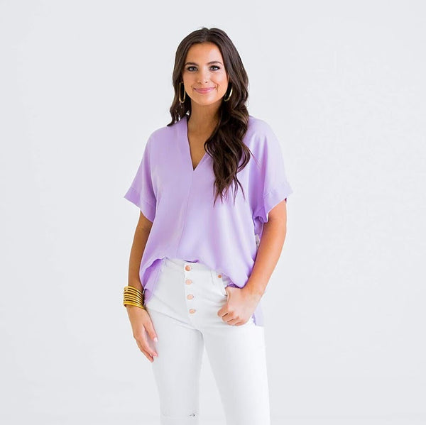 Lady Lilac V-Neck Blouse