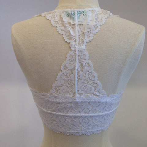 Lace Racer Back Bra - White