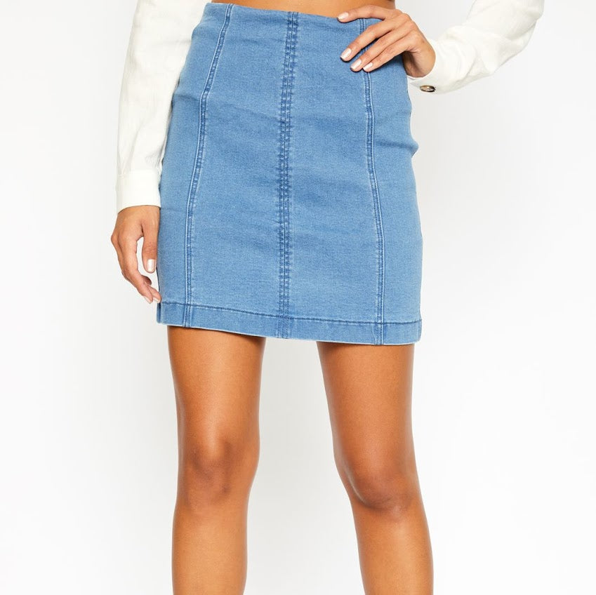 Denim Mini Skirt from Sadie & Sage at Charm Boutique