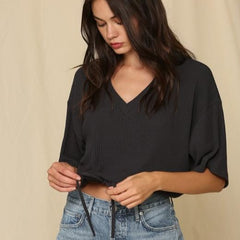 Charcoal Ribbed Knit Crop Tie Waist Top