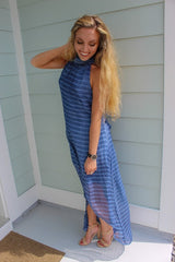 Navy Stripe Chiffon Hi-low Dress
