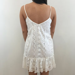 Karlie Vintage Lace Ruffle Dress - Back